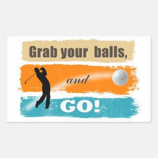 おもしろいなゴルフグラブあなたの球 長方形シール
