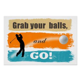 おもしろいなゴルフグラブあなたの球ID466 ポスター