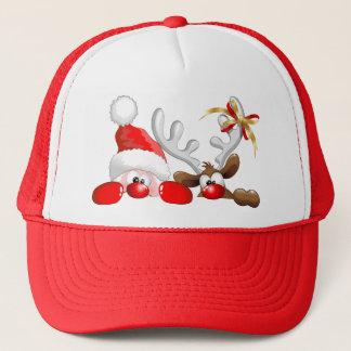 おもしろいなサンタおよびトナカイの漫画の帽子 キャップ