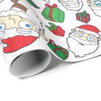 おもしろいなサンタクロースのクリスマスのギフト用包装紙 ラッピングペーパー