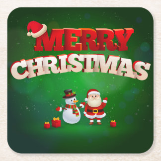 おもしろいなサンタクロースのメリークリスマスのデザイン スクエアペーパーコースター