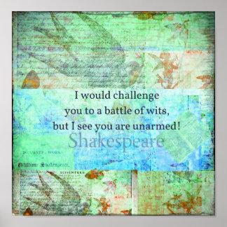 おもしろいなシェークスピアの侮辱の引用語句のエリザベス朝芸術 ポスター