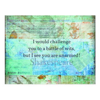 おもしろいなシェークスピアの侮辱の引用語句のエリザベス朝芸術 ポストカード