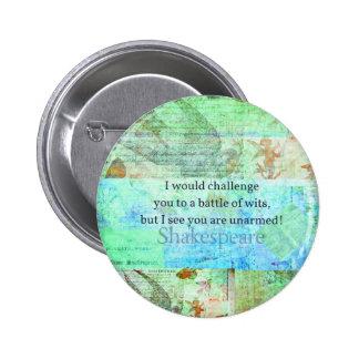 おもしろいなシェークスピアの侮辱の引用語句のエリザベス朝芸術 5.7CM 丸型バッジ