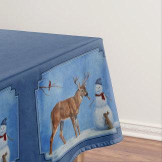 おもしろいなシカ及びクリスマスの雪だるまの冬の青 テーブルクロス
