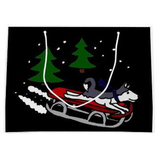 おもしろいなシベリアンハスキーのSledding ラージペーパーバッグ