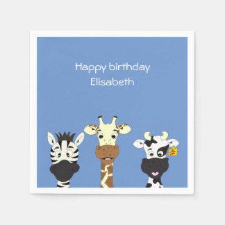 おもしろいなシマウマのキリン牛漫画の青の子供の誕生日 スタンダードカクテルナプキン
