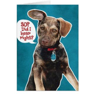 おもしろいなジャーマン・シェパードの子犬の第30バースデー・カード グリーティングカード