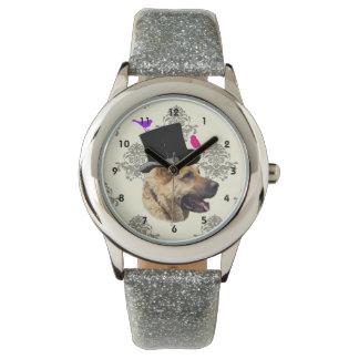 おもしろいなジャーマン・シェパード犬 腕時計