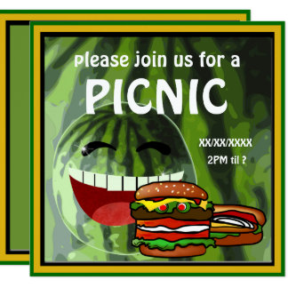 おもしろいなスイカのピクニック招待状 カード