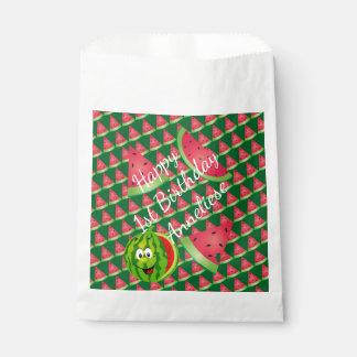 おもしろいなスイカの子供の誕生日のテーマ フェイバーバッグ