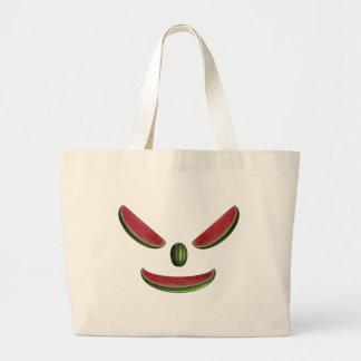 おもしろいなスイカの顔文字 ラージトートバッグ