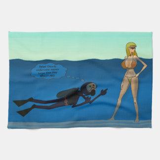 おもしろいなスキューバダイバーの水中女の子、潜水のギフト キッチンタオル
