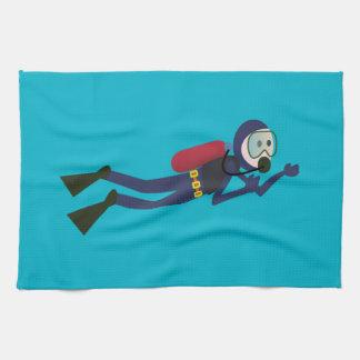 おもしろいなスキューバダイビングのダイバー、タンクおよびマスクのスキューバギア キッチンタオル