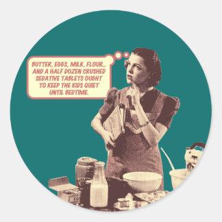 おもしろいなステッカー-お母さんのSleepytimeのレトロのケーキ ラウンドシール