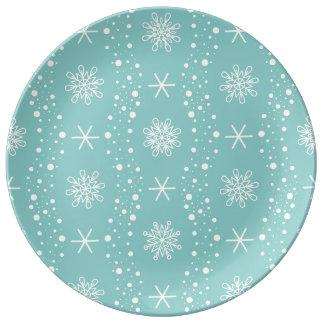 おもしろいなターコイズの雪片パターン 磁器プレート