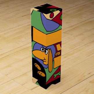 おもしろいなダックスフントの芸術の抽象芸術のワイン用化粧箱 ワインギフトボックス