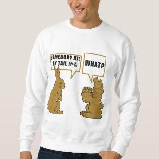 おもしろいなチョコレートイースターのウサギの人のスエットシャツ スウェットシャツ
