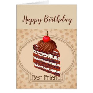 おもしろいなチョコレートケーキの親友のバースデー・カード カード