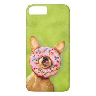 おもしろいなチワワ犬はとの鼻のドーナツを振りかけます iPhone 8 PLUS/7 PLUSケース
