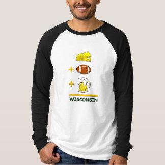 おもしろいなチーズフットボールおよびビール同輩ウィスコンシン Tシャツ