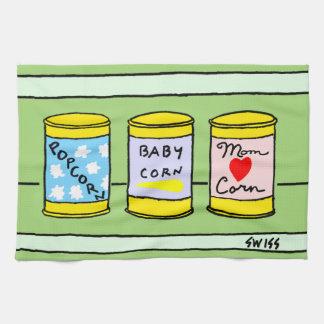 おもしろいなトウモロコシ家族の漫画の台所タオル キッチンタオル