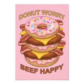 おもしろいなドーナツ心配のビーフの幸せなベーコンのチーズバーガー カード