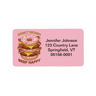 おもしろいなドーナツ心配のビーフの幸せなベーコンのチーズバーガー ラベル