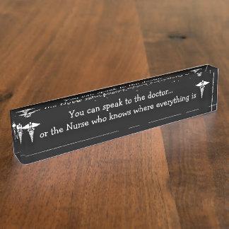 おもしろいなナースの机の名札 デスクネームプレート