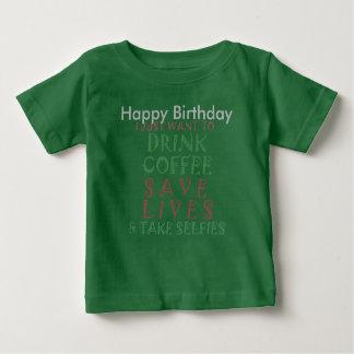 おもしろいなハッピーバースデーのコーヒー願い ベビーTシャツ