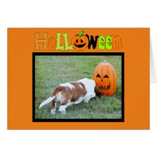 おもしろいなハロウィンカードw/Cuteバセット犬、カボチャ及びこうもり カード
