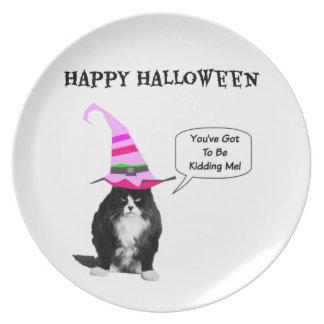 おもしろいなハロウィン気難しい猫のプレート プレート