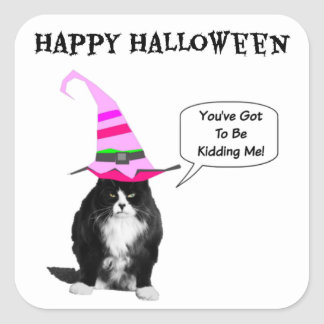 おもしろいなハロウィン気難しい猫の正方形のステッカー スクエアシール