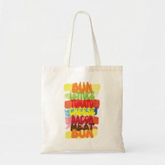 おもしろいなハンバーガーのタイポグラフィの芸術 トートバッグ
