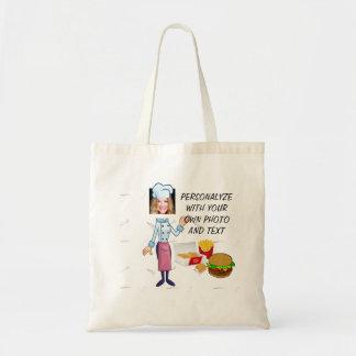 おもしろいなハンバーガーの調理師、トートバック-写真及び文字を加えて下さい トートバッグ