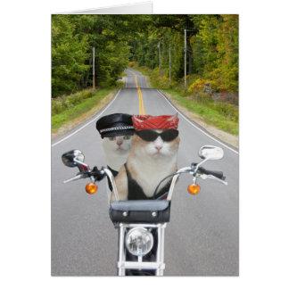 おもしろいなバイクもしくは自転車に乗る人猫バレンタインか記念日 カード