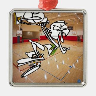 おもしろいなバスケットボールの印象 メタルオーナメント