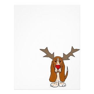 おもしろいなバセットハウンドのクリスマスのトナカイ レターヘッド