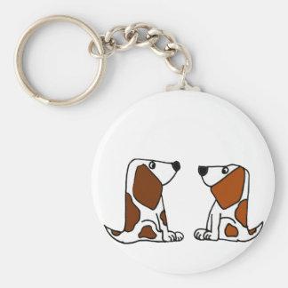おもしろいなバセットハウンドの小犬の漫画 キーホルダー