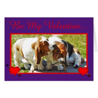 おもしろいなバレンタインw/Bassetは、ハート、及びカップケーキ追跡します カード