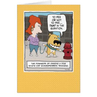 おもしろいなバースデー・カード: 犬小便をしないため小便をするか、または カード