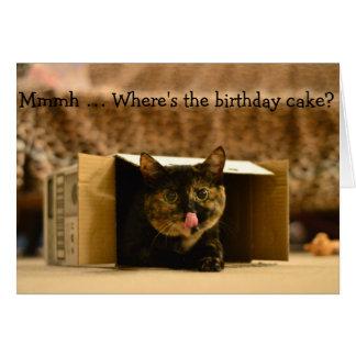 おもしろいなバースデー・カード: 猫を唇舐めること グリーティングカード
