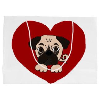 おもしろいなパグの小犬およびハート愛芸術 ラージペーパーバッグ