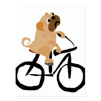 おもしろいなパグの小犬の乗馬の自転車 ポストカード