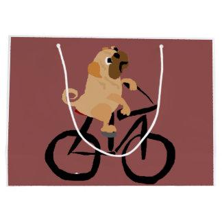 おもしろいなパグの小犬の乗馬の自転車 ラージペーパーバッグ