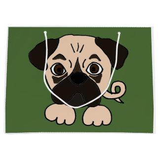 おもしろいなパグの小犬 ラージペーパーバッグ