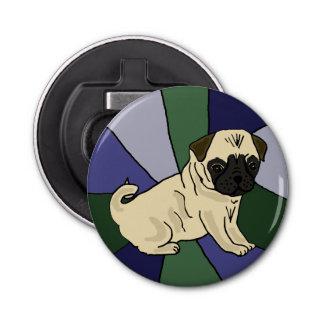 おもしろいなパグ犬の芸術のボタン型栓抜き 栓抜き