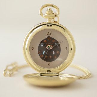 おもしろいなパパモンスターはコーヒー壊中時計を愛します ポケットウォッチ