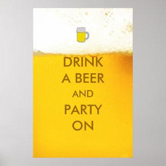 おもしろいなビールポスターのビールそしてパーティーを飲んで下さい ポスター