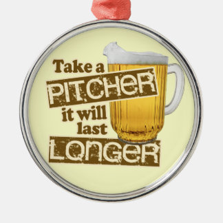 おもしろいなビール飲むユーモア シルバーカラー丸型オーナメント